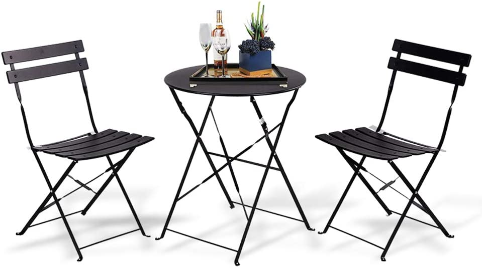 INOVIX Black Grand Premium Steel Bistro, Folding Outdoor Furniture, 3 Piece Set of Foldable Patio Table and Chairs: Home & Kitchen