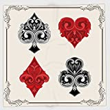 Cotton Microfiber Hand Towel,Poker Tournament Decorations,Baroque Frame Gamble Symbols Vintage Antique Ornamental,Red Black Silver,for Kids, Teens, and Adults,One Side Printing