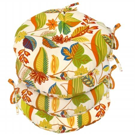 Greendale Home Fashions OC6816S4-ESPRIT 15 in. Round Outdoor Bistro Chair Cushion44; Set of Four44; - Bath Bistro