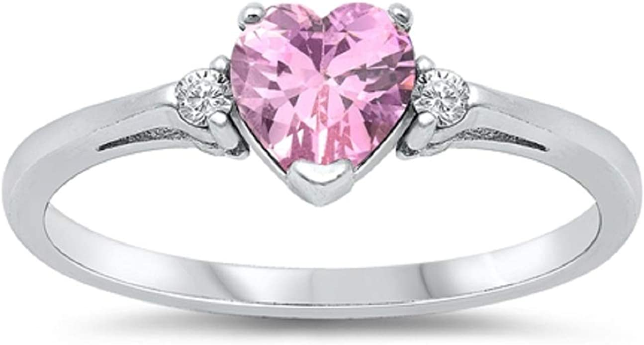 Valentines Day 0.70 ct Pink Sapphire 925 Sterling Silver Band Ring Size 7 Q374