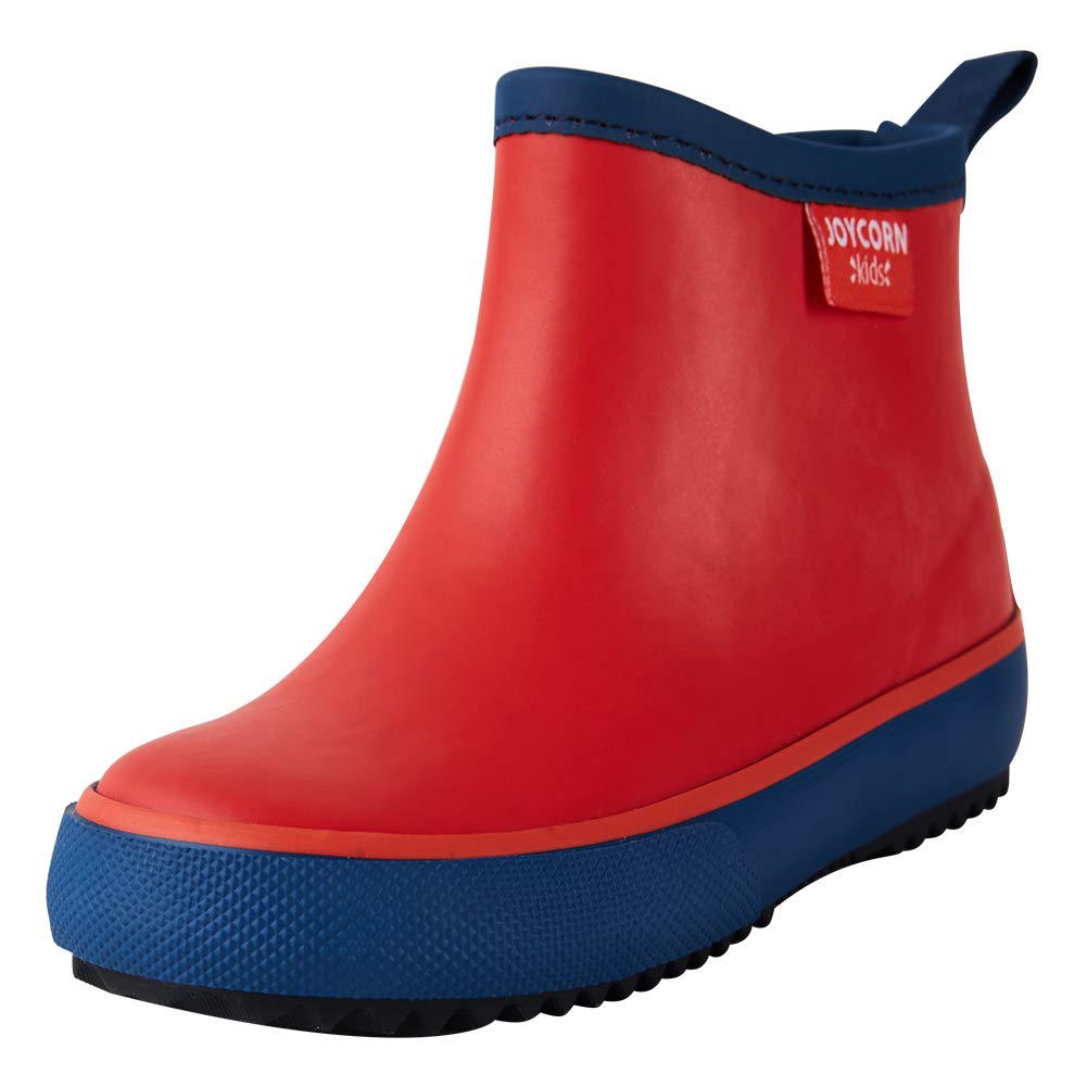 Girls with Handle Natural Rubber Waterproof Booties Cute Shoes with Soft Fabric Edge JOYCORN Little Kids Rain Boots for Toddler Boys