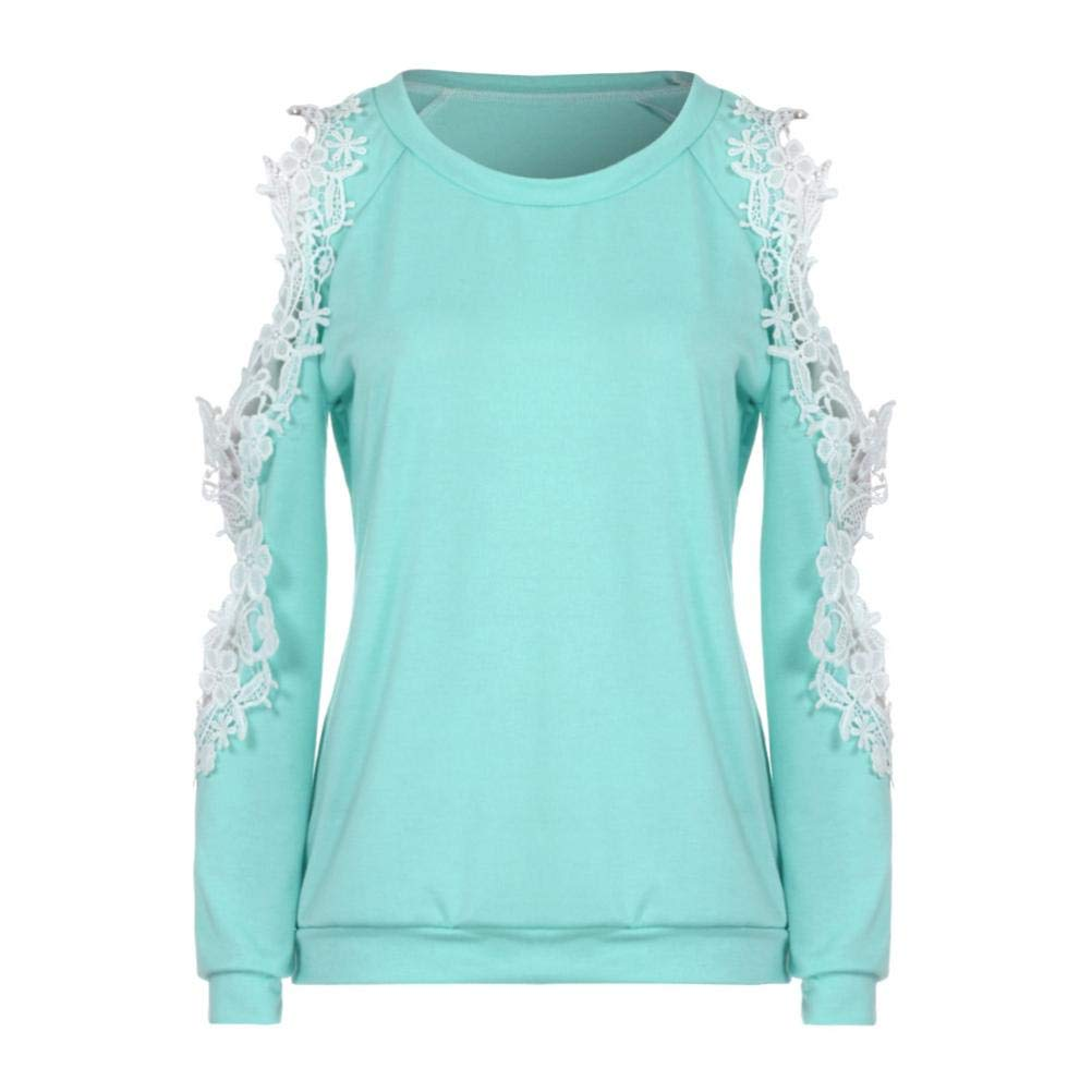 Zlolia-Blouses Preferential New Women Off Shoulder Lace Top Long Sleeve Blouse Ladies Casual Tops Shirt by Zlolia-Blouses (Image #3)