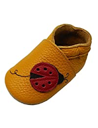 YIHAKIDS Soft Sole Baby Shoes Infant Toddler Leather Moccasins Cartoon Ladybug Baby Slippers