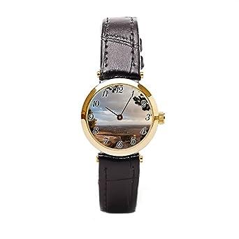 Ser un hombre piel marrón relojes Aline montaña cedro barato reloj de pulsera: Amazon.es: Relojes