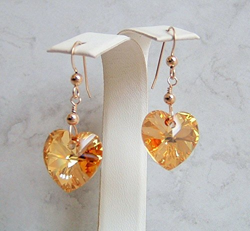 Beautiful Crystal Heart Simulated Citrine November Birthstone Gold Filled Earrings Gift Idea - Gold Citrine Pierced Earrings