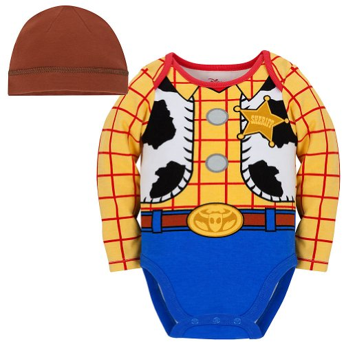 Disney Store Toy Story Woody Onesie Halloween Costume Bodysuit Size 12-18 -