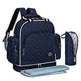 S-ZONE Baby Diaper Bag Travel Backpack Large Waterproof Shoulder Bag Fit Stroller with Changing Pad and Portable Insulated Pocket£¨Blue Dot£