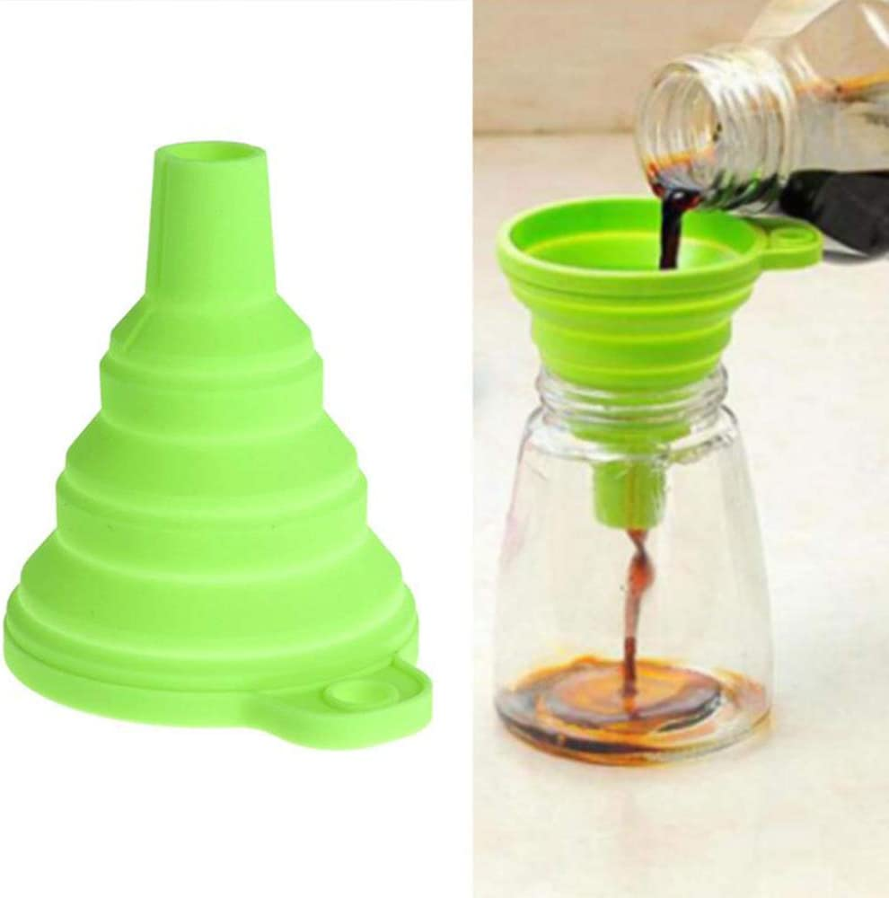 Silicone Foldable Funnel 2 Pack Collapsible Funnel for Kitchen Liquid Water Transfer