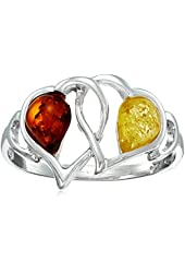 Multicolor Amber Sterling Silver Heart Ring
