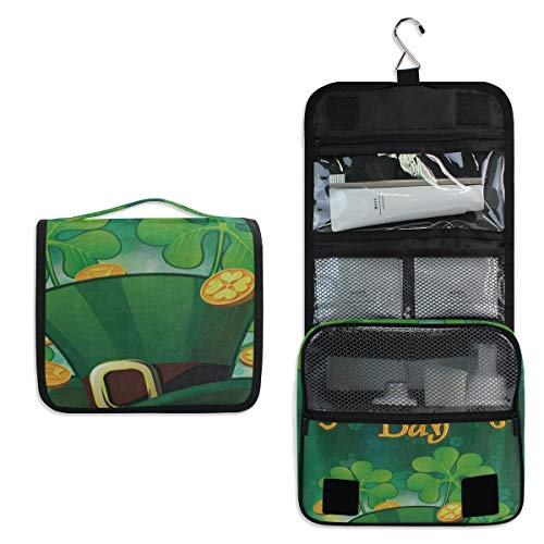 - Travel Hanging Toiletry Bag Patrick Day Shamrock Clover Cosmetic, Makeup and Toiletries Organizer | Compact Bathroom Storage | Home, Gym, Airplane, Hotel, Car Use