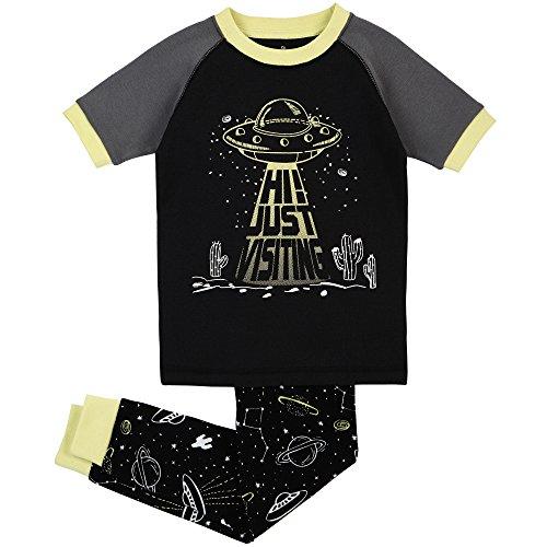 Petit Lem Big Boys' Space UFO Pajama, Black, 4 (Ufo Pants Girl)