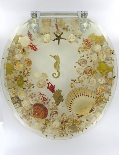 Sea Shell Lucite Tropical Fish Toilet Seat Seashell Standard Size by Popular