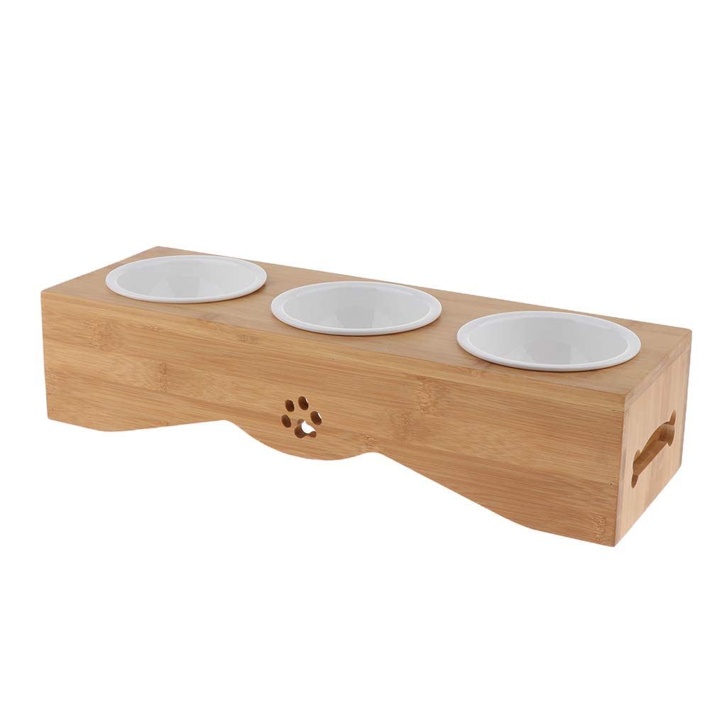 MagiDeal Raised Pet Feeder Solid Bamboo Stand Food Dispenser Perfect for Cats Dogs