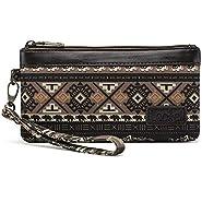 Lecxci Canvas Clutch Cell Phone Handbags, Zipper Wristlets Wallets Purse with Wrist Strap for Men Women