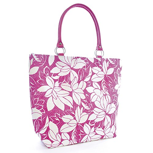 Shopping Summer Tote Floral Womens Weaved Large Pool Bag Pink Beach Print Design Swim dzqaZgw