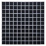 SomerTile FXLMS1BK Retro Square Porcelain Floor and Wall Tile, 11.75' x 11.75', Matte Black