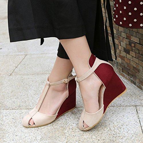 Easemax Kvinna Trendig Frostat Rund Tå Kontrasterande Färg Ankelspänne T-rem Hög Kil Klack Sandaler Röda