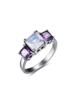 Heyrock Stainless Steel Purple Rhinestones Ring for Women Fashion Wedding Jewelry (52)