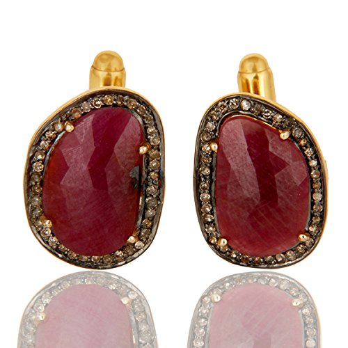 Gemstone Cufflinks, 925 Sterling Silver Diamond Jewelry, Ruby Pave Diamond Cuff link Jewelry For Men's by PANOPLY JEWELRY
