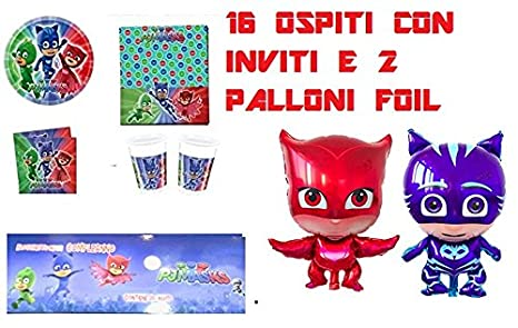 Arcobalenoparty Super Pigiamini Kit 16 Ospiti Con Inviti E 2