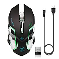 VEGCOO C9s (Updated Version) Wireless Gaming Mouse, Rechargeable Silent Click Mice with Nano Receiver, Changing Breathing Backlit, 3 Adjustable DPI Up to 2400 for Gamer, Laptop, PC, Macbook (Black)