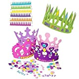 12 Princess Foam Tiara Craft Kits + 12 Prince King Foam Crown Craft Kits - Great fun for kids birthday party.