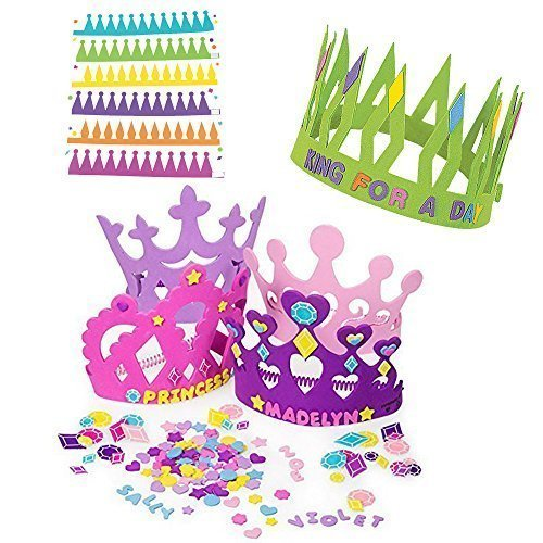 12 Princess Foam Tiara Craft Kits + 12 Prince King Foam Crown Craft Kits - Great fun for kids birthday party. (Original Version)