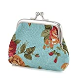 Aland Vintage Flower Canvas Women Hasp Clutch Buckle ❁ Coin Purse ❁ Cash Card Holder Bag Jewelry Double-Sided Glass Ball time Jewel Necklace Moon Series Pendant Lake Blue