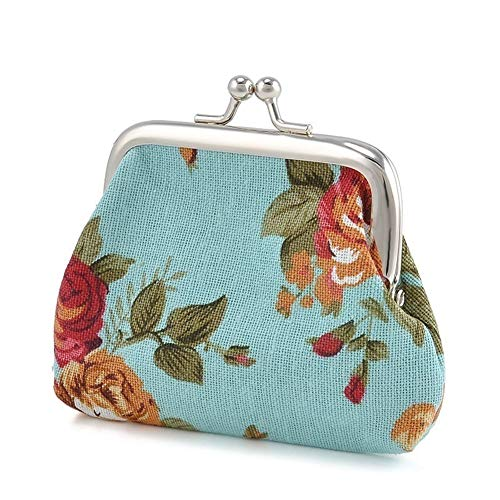 Aland Vintage Flower Canvas Women Hasp Clutch Buckle ❁ Coin Purse ❁ Cash Card Holder Bag Jewelry Double-Sided Glass Ball time Jewel Necklace Moon Series Pendant Lake Blue ()