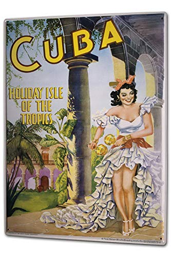 Vintage Metal Sign Tin Sign XXL City Cuba Holiday Tropical Dancing Woman 12x16 Wall Decor Art Print Sign -