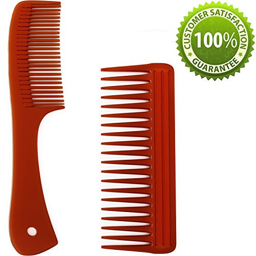 Beauty : Hair Comb Set for Men & Women - Professional Quality Gentle Wide Tooth Comb for Curly Hair Detangler - Fine Tooth Handle Comb with Easy Grip for Straight Hair Beard & Mustache Daily Styling Comb Pack
