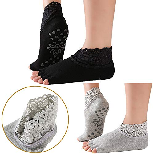 Sed2ne Yoga Socks for Women with Grip & Lace Elastic Straps Non Slip Toeless Half Toe Socks for Ballet Pilates Barre Dance