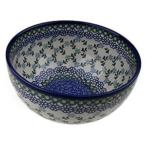 Ceramika Boleslawiecka Kalich Original Polish Hand Made Pottery Mixing Bowl (3.75″ High; 7.25″ Diameter)