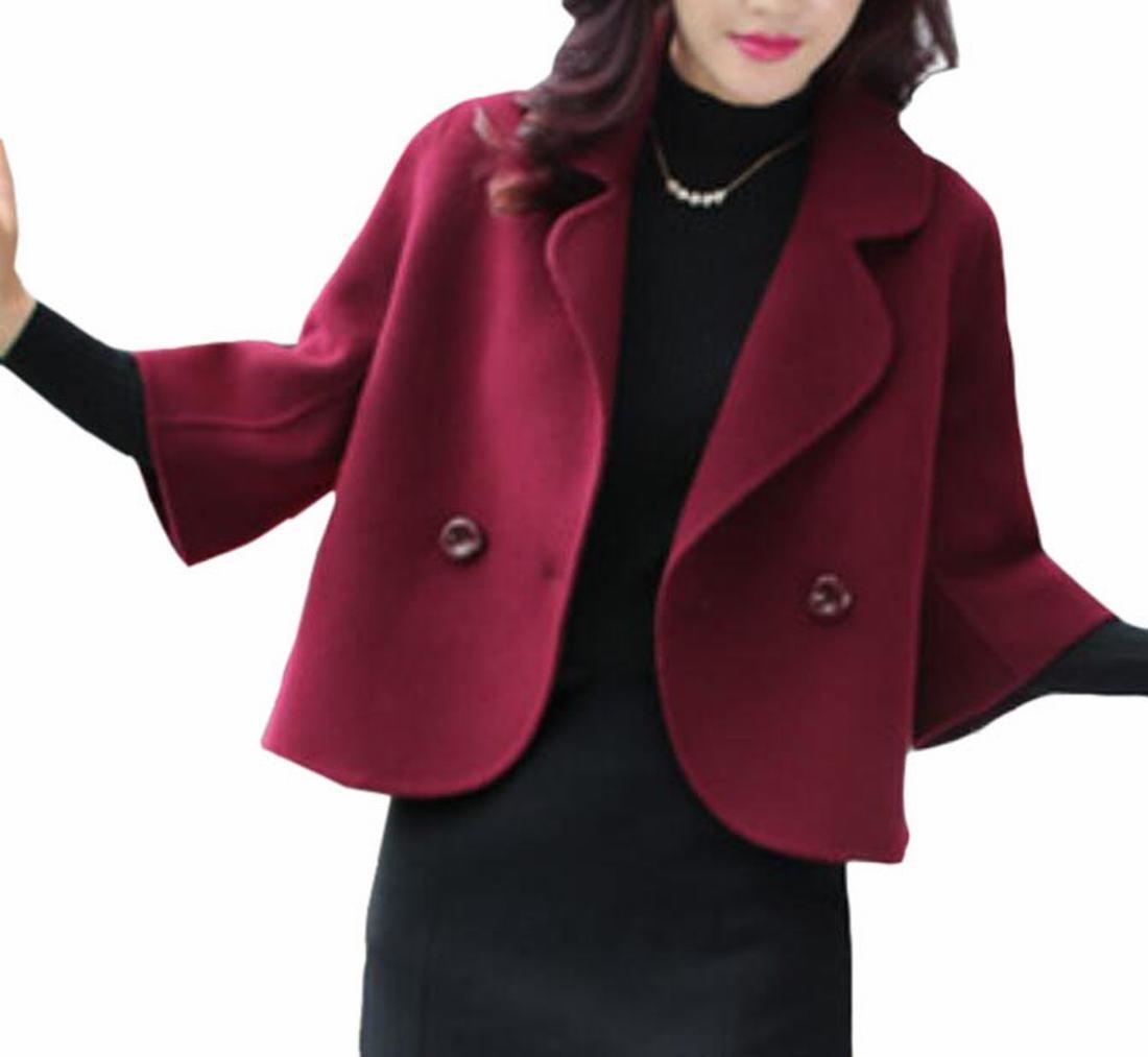 FLCH+YIGE Women's Wool Blend Solid-Colored Lapel Warm Suit Jacket Blazer Wine Red L
