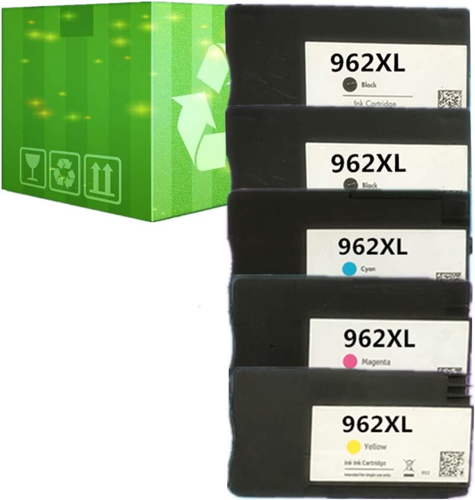 J2INK Remanufactured Ink Cartridge Replacement for HP 962XL 962 5 Pack Ink Cartridge 3JA03AN 3JA00AN 3JA01AN 3JA02AN OfficeJet Pro 9025 9020 9018 9015 9010