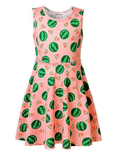 Watermelon Girl Costume (Jxstar Big Girl's Fruit Print for Skater Watermelon Pattern Sleeveless Dress Watermelon 160)