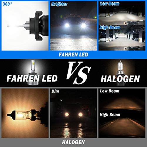 Fahren 9008/H13 LED Headlight Bulbs, 60W 12000 Lumens Super Bright LED Headlights Conversion Kit 6500K Cool White IP68 Waterproof, Pack of two