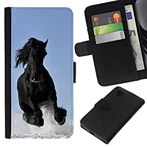 eJoy---La carpeta del tirón la caja de cuero de alta calidad de la PU Caso protector - LG Nexus 5 D820 D821 - --Majestic Mustang Horse