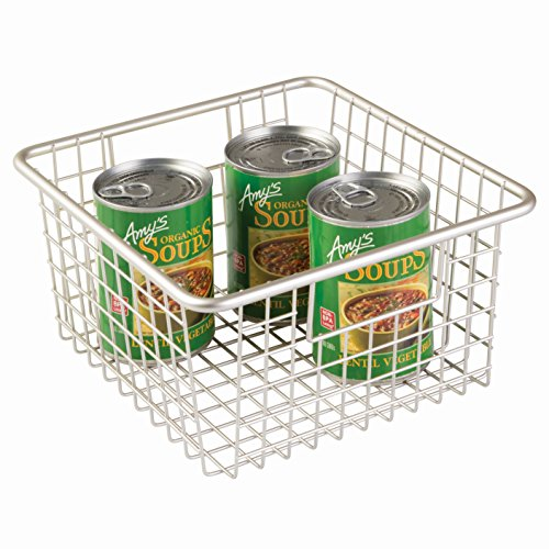 InterDesign Forma Metal Wire Pantry Storage Organizer Basket with Handles, Container Bin for Food, Drinks, Produce Organization, 1.25