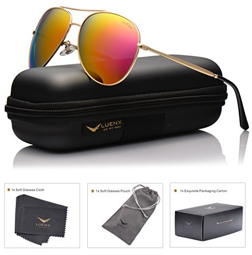 LUENX Aviator Sunglasses Polarized for Men & Women with Case - 400 UV Rose Red Pink Lens Metal Gloss Gold Frame Colored 60mm