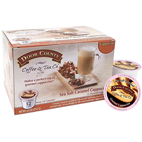 Door County Coffee Single Serve Cups For Keurig Brewers  Sea Salt Caramel Cappuccino  36 Count