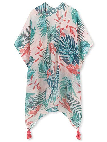 Spicy Sandia Swimsuit Cover ups for Women with Tassel Open-Front Kimono Cardigan with Floral Print Beach Cover up, Leaves and - Cover Tropical Up