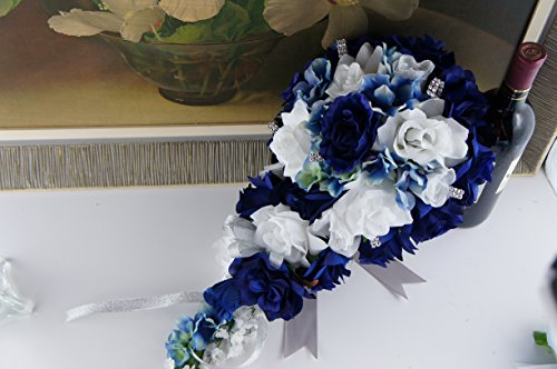 2pc Set: Cascade Bridal Bouquet & Boutonniere W/bling: Royal Blue White - Silk Flowers