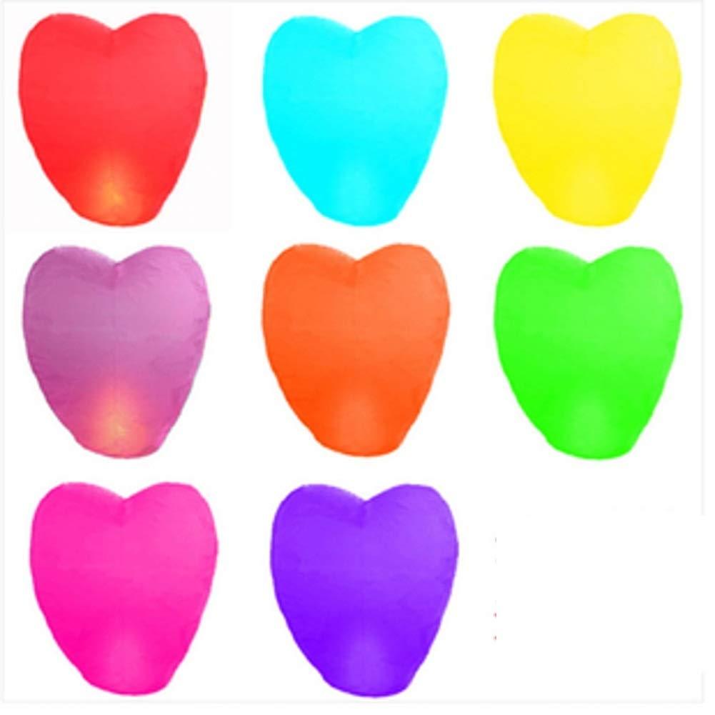 Lovinland 50 Pcs Sky Lantern Heart Shape Floating Wishing Lantern Colorful Chinese Paper Flying Lamp