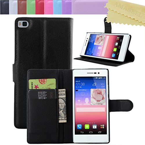 Huawei P8 Case Cover, AMASELL Premium PU Leather Flip Wallet Cover Case with Built-in Card and Cash Slots, Kickstand and Magnet Buckle For Huawei P8 5.2 inches Case, Black Gras Buckles