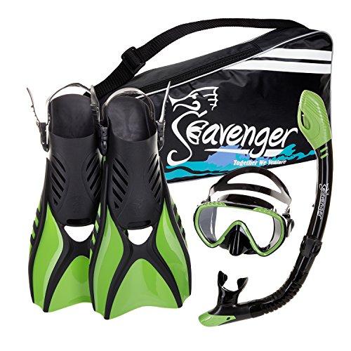 Seavenger Diving Snorkel Set - (Black Silicon/Green) - L