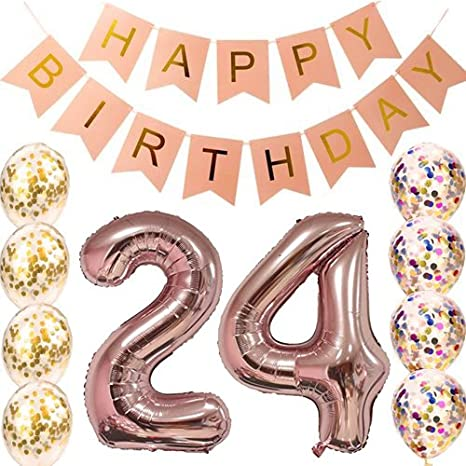 24th Birthday Decorations Party supplies-24th Birthday Balloons Rose Gold,24th Birthday Banner,24th...