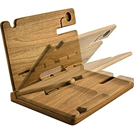 BarvA Natural Walnut Wood Two Cell Phone Stand Watch Holder. Foldable Men Device Dock Accessory Organizer. Mobile Base…