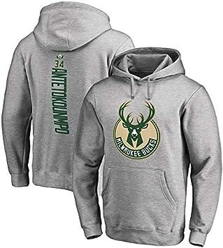 Dlmk Sweat /à Capuche pour Hommes Milwaukee Bucks Antetokounmpo # 34 Pull pour Jeunes Hommes Nom Et Num/éro /Él/égant Basketball Sports Pull Top