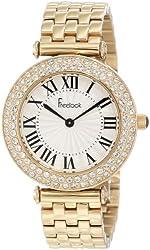Freelook Women's HA1944G-3 Ss Gold Band & Case White Dial Swarovski Bezel Watch